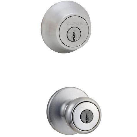 kwikset tylo satin chrome entry knob and single cylinder