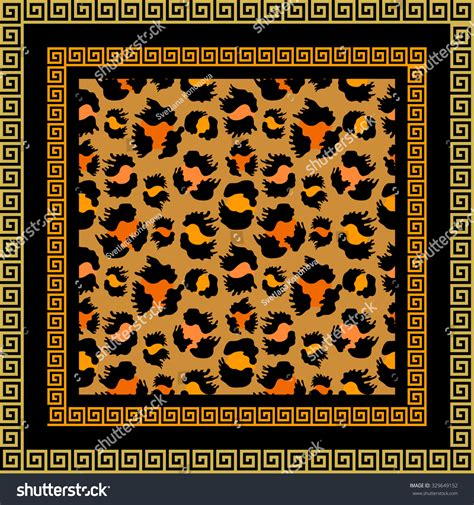html input pattern safari scarf with meander border and leopard pattern safari