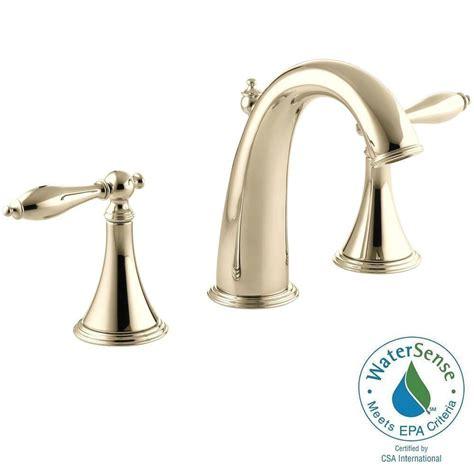 kohler gold bathroom faucets kohler purist 8 in widespread 2 handle mid arc water