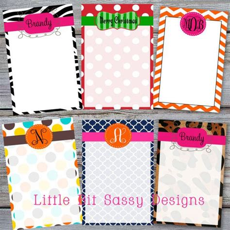 Handmade Notepads - personalized notepad custom monogram notepads animal print