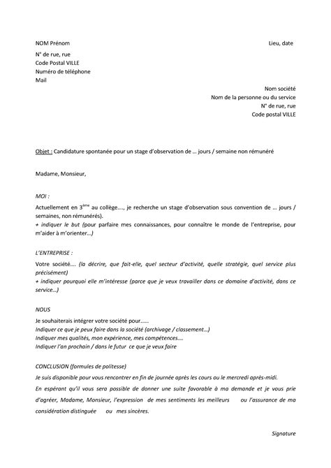 Lettre De Demande Stage 3eme Exemple Lettre Motivation Stage 3eme