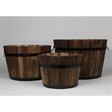 Wooden Half Barrel Planters by Tuscan Path 37cm Half Barrel Wooden Planter I N 2890296