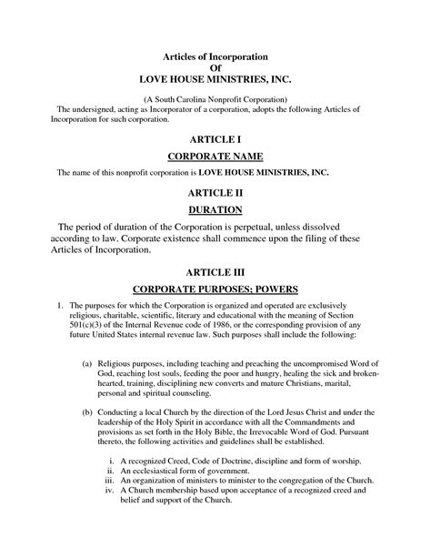 free article of incorporation template articles of incorporation template free two member llc