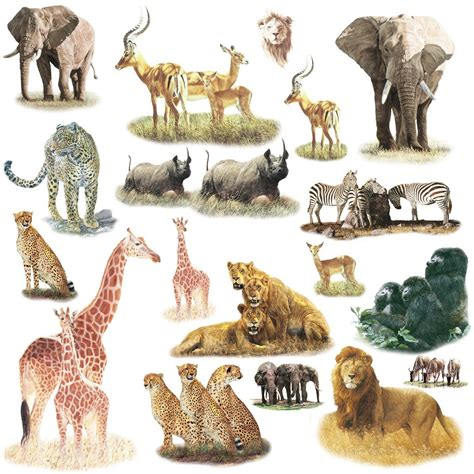 Jungle Animal Wall Stickers elephant wall decal roommates rmk1130scs safari peel amp