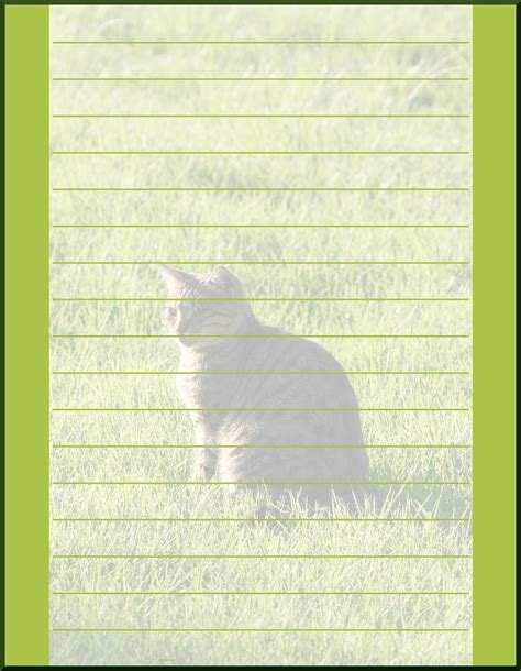 lined paper with cat border free printable free school paper