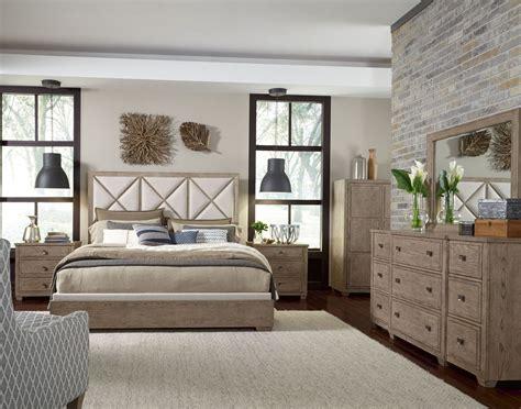 bridgewater weathered oak upholstered bedroom set from