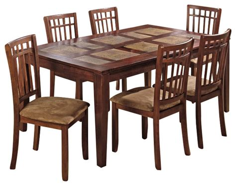 Sensei Oak Rectangle 7 Dining Set 588 72b 588 72t 6x588 243kd Decor South Jofran Amaretto 7 Dining Room Set Contemporary Dining Sets By Efurniture Mart