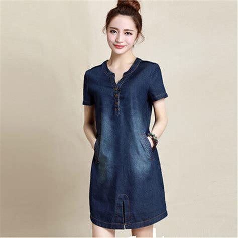 V Dress Blue Size M 15778 m xxxl denim dress summer 2015 new arrivals cotton blue dress for v neck big