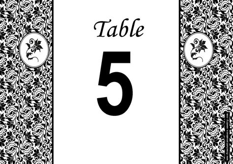 printable table number cards template free damask printable diy wedding table numbers free