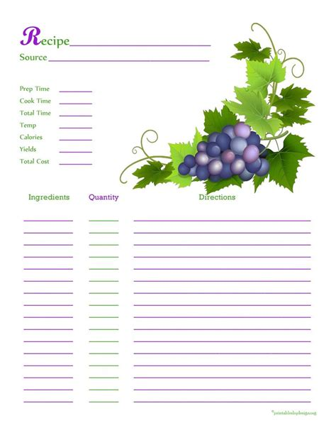 Cool Recipe Card Template by Grapes From The Vine Recipe Card Page Cool Recipe