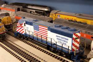 Diesel passenger train on the quot o quot gauge model train railroad layout at