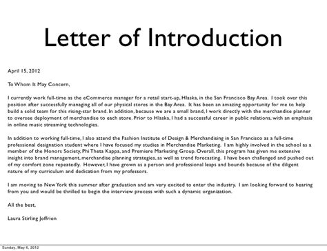 Sle Resume Email Introduction by Letter Of Introduction Sle Sle Letter Of Introduction
