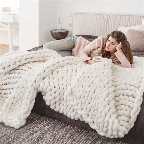 how much wool to knit a blanket large chunky knitted merino blanket premium
