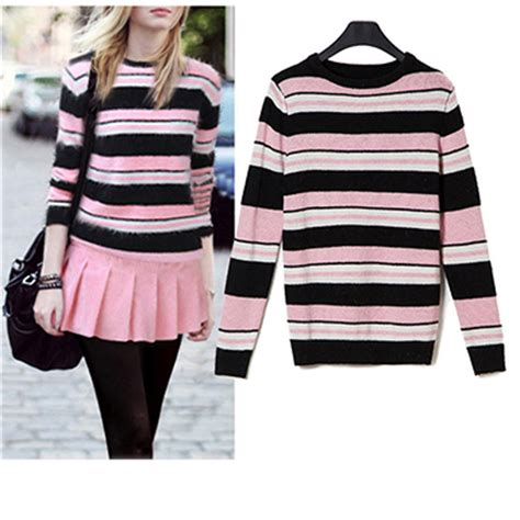 Womens Trendy O Neck Striped Worsted Sweater sweaters black and white