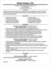Cv Template For Doctors by Doctor Resume Templates 15 Free Sles Exles