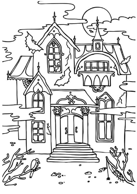 scary haunted house coloring pages birdhouse coloring pages for adults haunted house tree