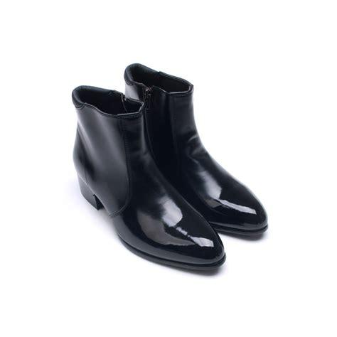 mens toe side zip low heel ankle boots