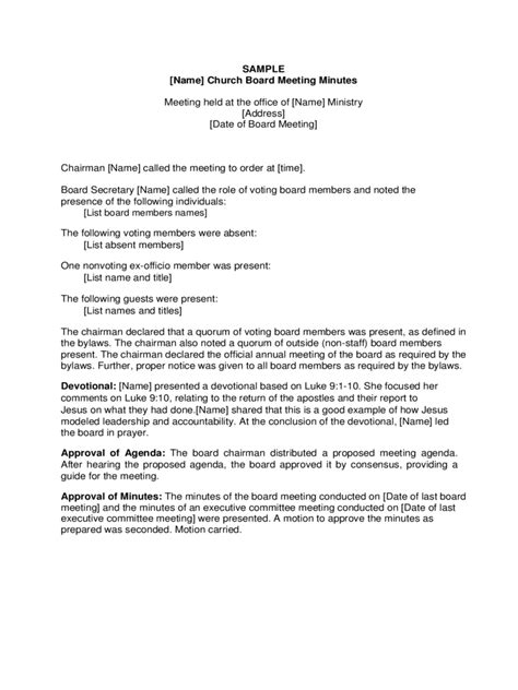 church minutes template board meeting minutes template 8 free templates in pdf