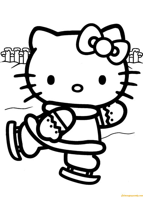 hello kitty logo coloring pages hello kitty ice skating coloring page free coloring