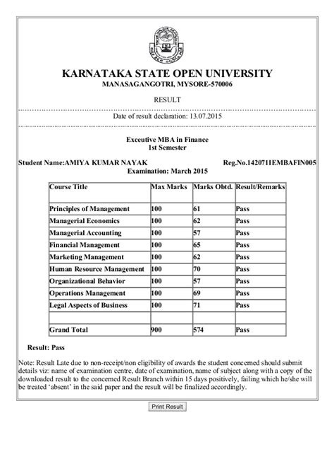 Karnataka Open Mba Fees by Sle Certificate Of Karnataka State Open