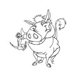 Timon hanging on pumbaa tusk in timon and pumbaa coloring page 300x300