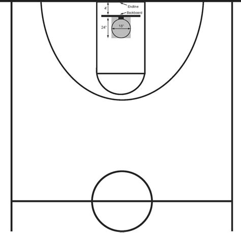half court basketball template basketball half court clip clipart best