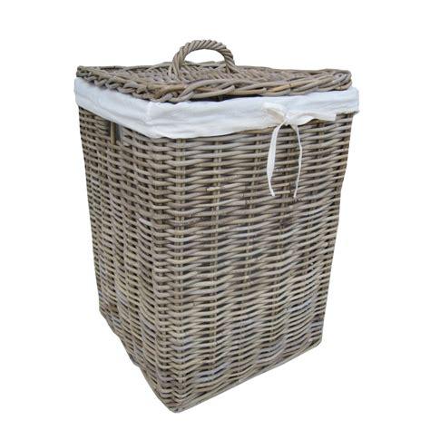 Grey Buff Square Rattan Laundry Basket Laundry Wicker