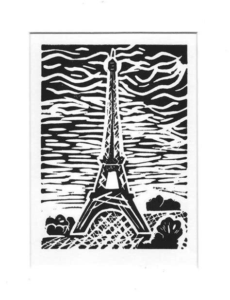 Linolschnitt Vorlagen Muster Linoldruck Linolschnitt Linoldruck Quot Eiffelturm Quot Ein Designerst 252 Ck Temere Bei Dawanda