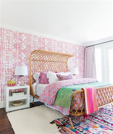 wallpaper bedroom accent wall rattan bed with pink wallpaper on bedroom accent wall