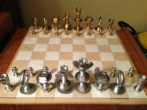 chess set pieces how to make a macgyver style chess set using just nuts