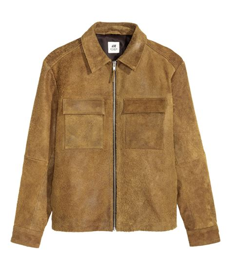 H Jaket h m suede jacket in brown for lyst