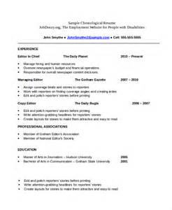 Chronological Resume Template. Format Resumes Sample