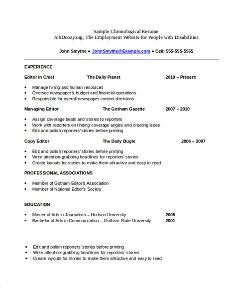 chronological resume sle for college student chronological resume template 23 free sles exles