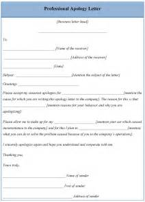 letter template for professional apology exle of