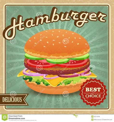 hamburger retro poster stock vector image 40174765
