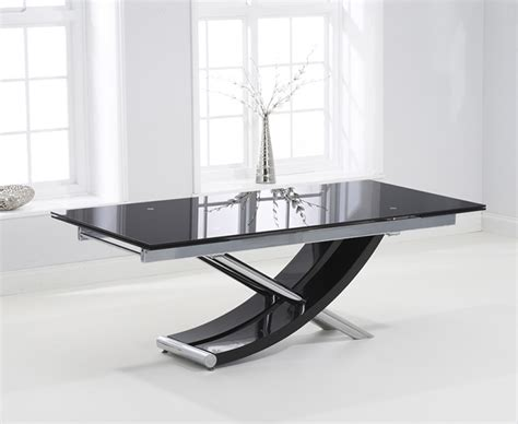 Black Glass Extending Dining Table 210cm Extending Black Glass Dining Table The Great Furniture Trading Company