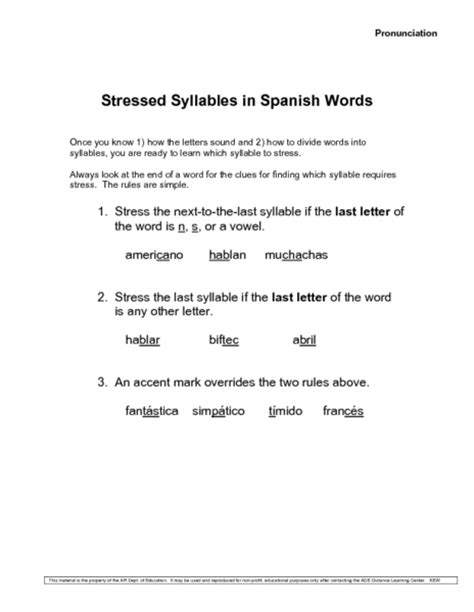stress pattern in spanish all worksheets 187 syllable rules worksheets printable