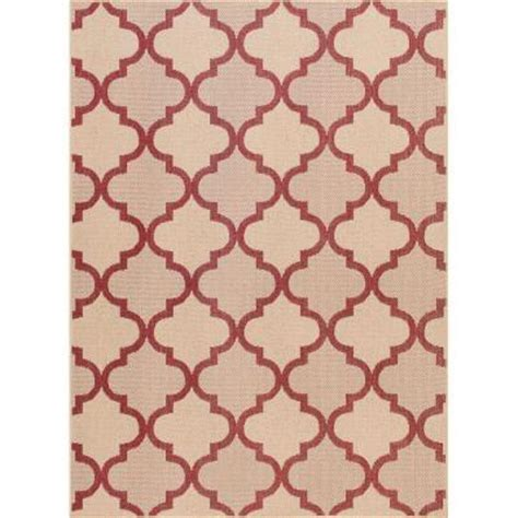 Hton Bay Indoor Outdoor Rugs Hton Bay And Beige Trellis 5 Ft 3 In X 7 Ft 4 In Indoor Outdoor Area Rug 3197 21 55