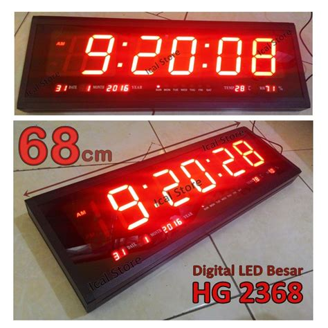 cara membuat jam dinding digital led jam dinding digital led besar hg 2368 panjang 68 cm