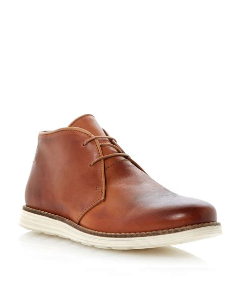 dune christoff lace up sporty chukka boots in brown for
