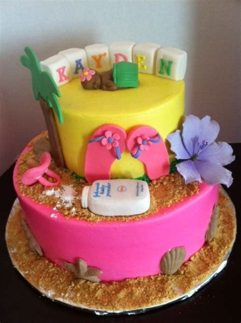 Luau Baby Shower Cakes luau tropical baby shower cake cakecentral