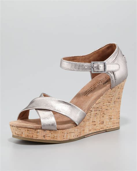 cork wedge sandal toms cork wedge sandal pewter in silver pewter lyst