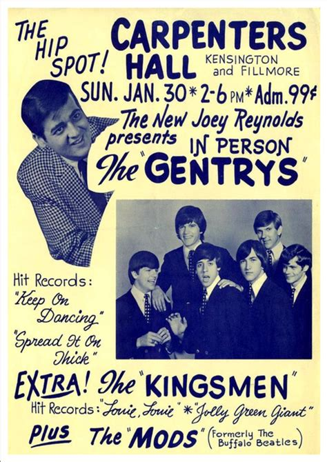 Poster A4 The Kingsmen quot the gentry s the kingsmen carpenters quot print