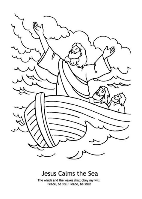 free coloring pages of jesus calming the sea