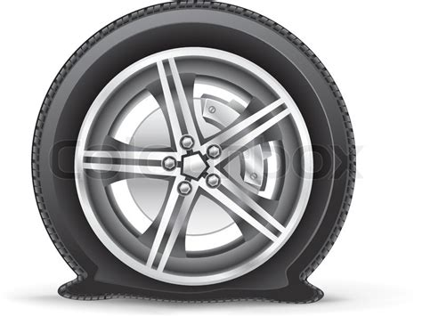The flat tire on the white background   Stock Vector