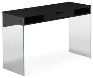 bureau noir avec pied en verre et tiroir moderne