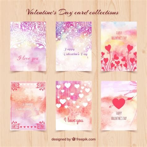 valentines day postcards watercolor day cards vector free