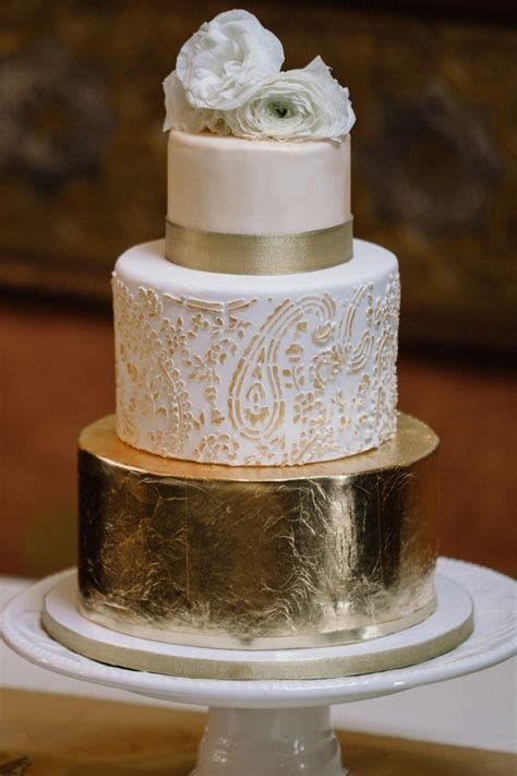 Rustic Glam Gold Foil Three Tiered Wedding Cake with