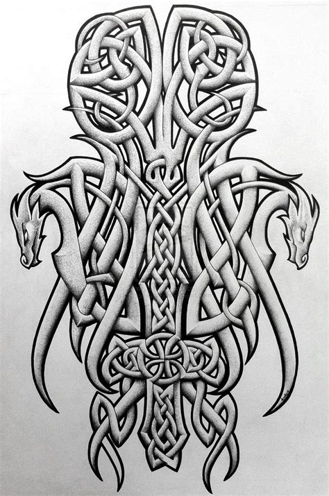 celtic knot cross tattoos tattoos celtic norse celtic dragons and cross by