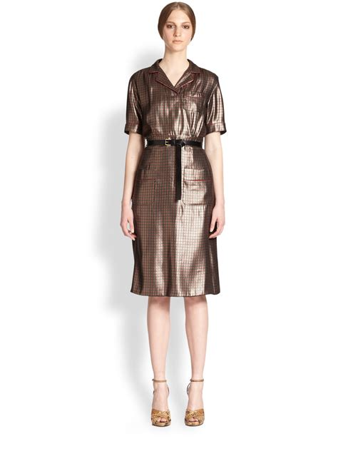 Designer Potw Marc Silk Dress by Marc Silk Lame Pajama Dress In Gold Lyst